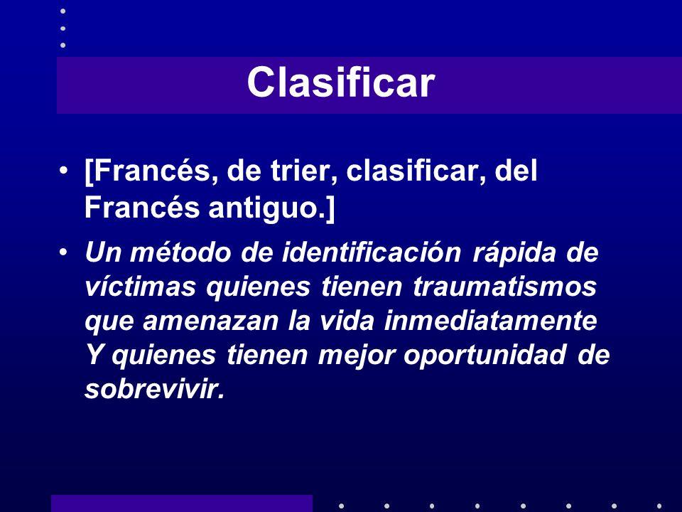 Clasificar [Francés, de trier, clasificar, del Francés antiguo.]